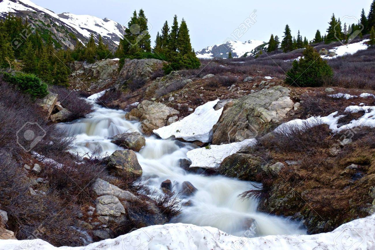 Rupid Spring Creek Running Through Mountains Alpine Tundra Below Independence Pnear Aspen Colorado