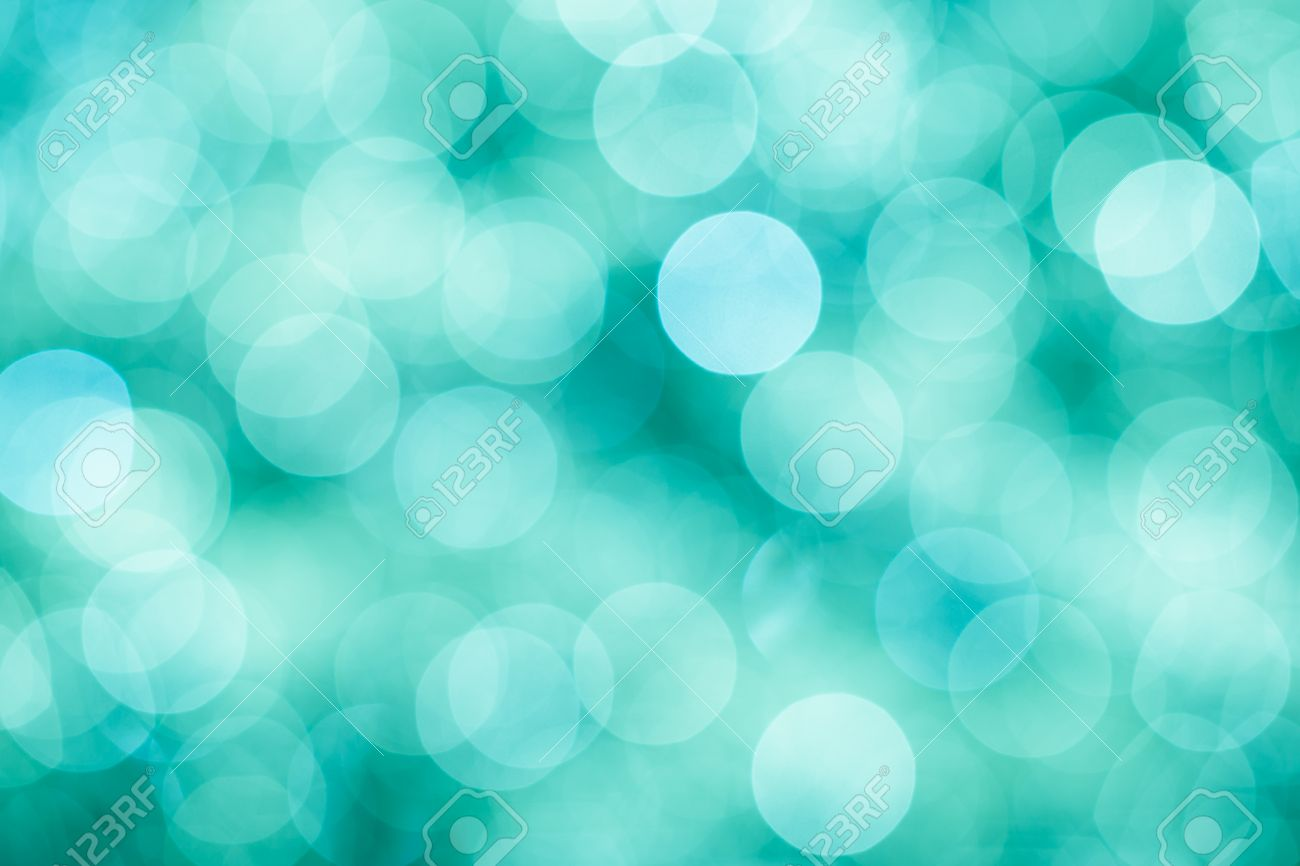 Blue Green And Turquoise Festive Background With Bokeh Defocused