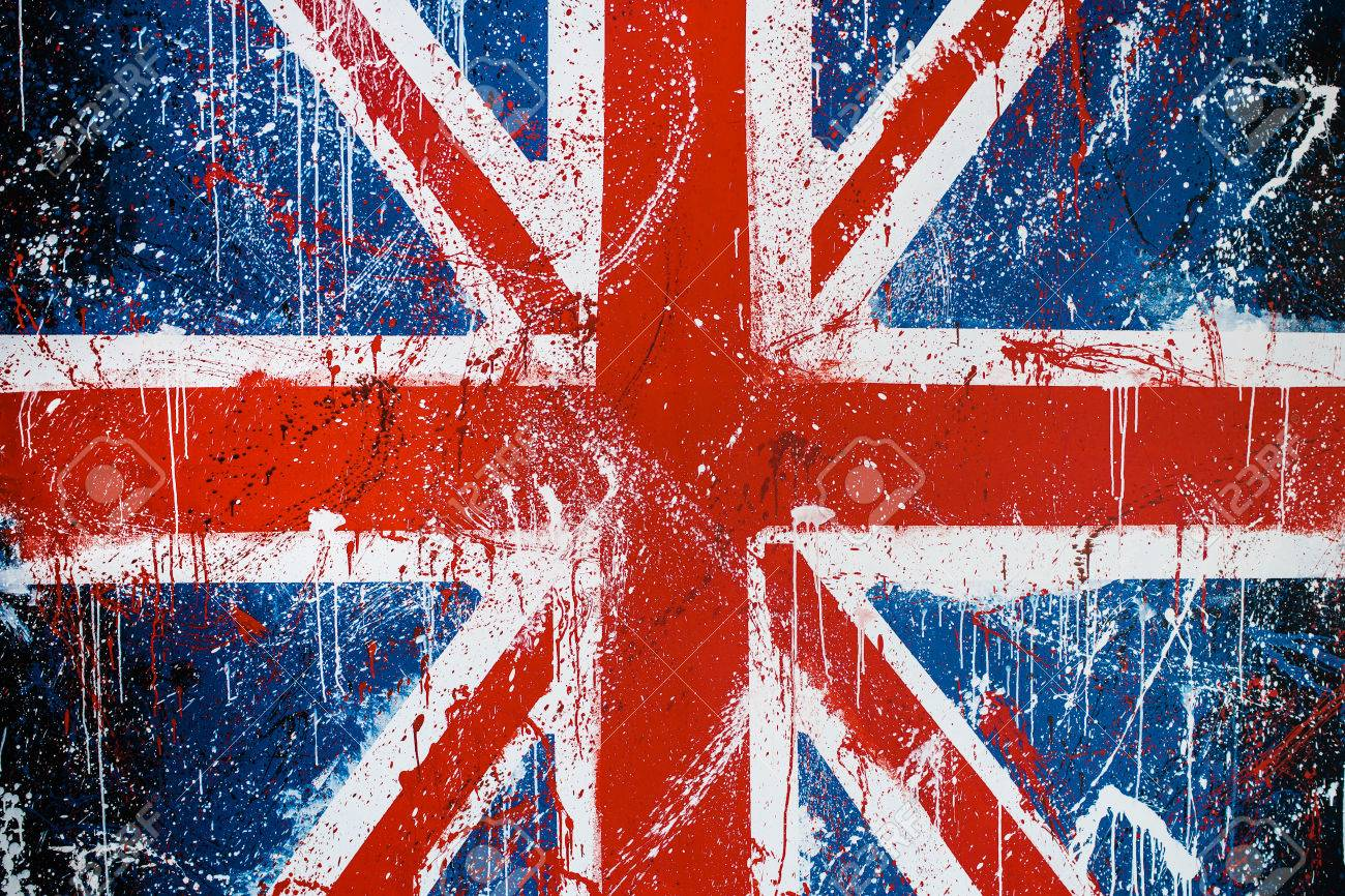 Painted Concrete Wall With Graffiti Of British Flag Grunge Flag