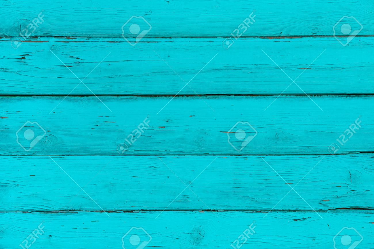 Natural Wooden Blue Turquoise Boards Wall Or Fence With Knots