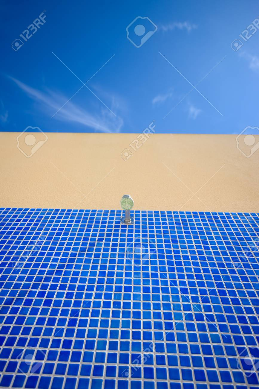 Blue Tiles Of Outdoor Shower At Swimming Pool On The Sunny Sky ...