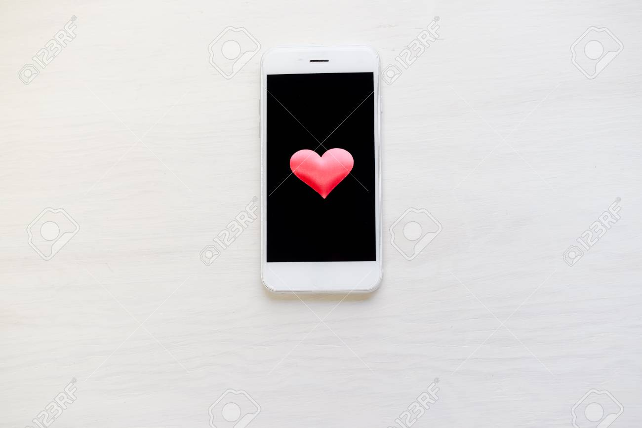 Love Heart Symbol And Mobile Phone Valentine Day Background Stock