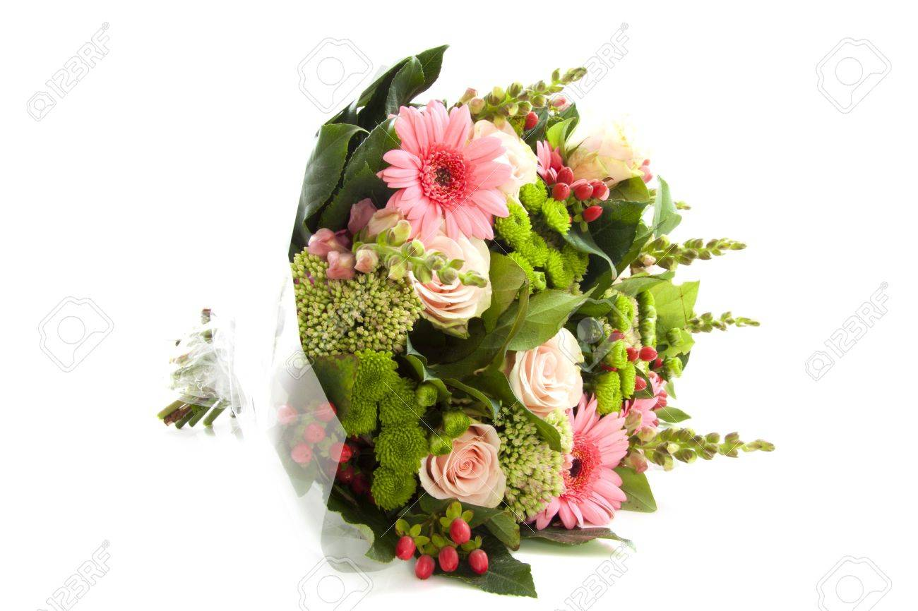 Lovely bouquet with different kind of flowers isolated over white Stock Photo - 7789428