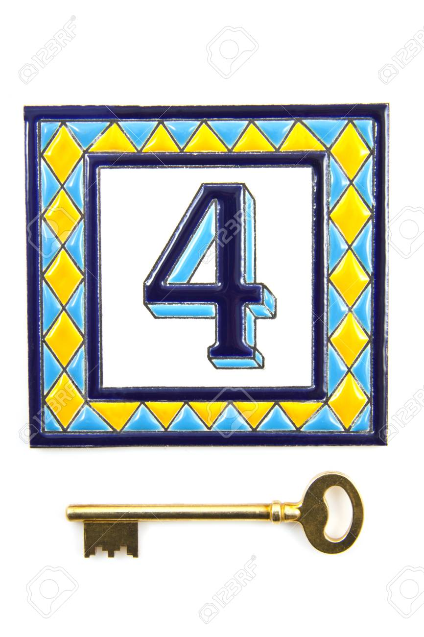 Number four with golden key isolated over white Stock Photo - 8574563