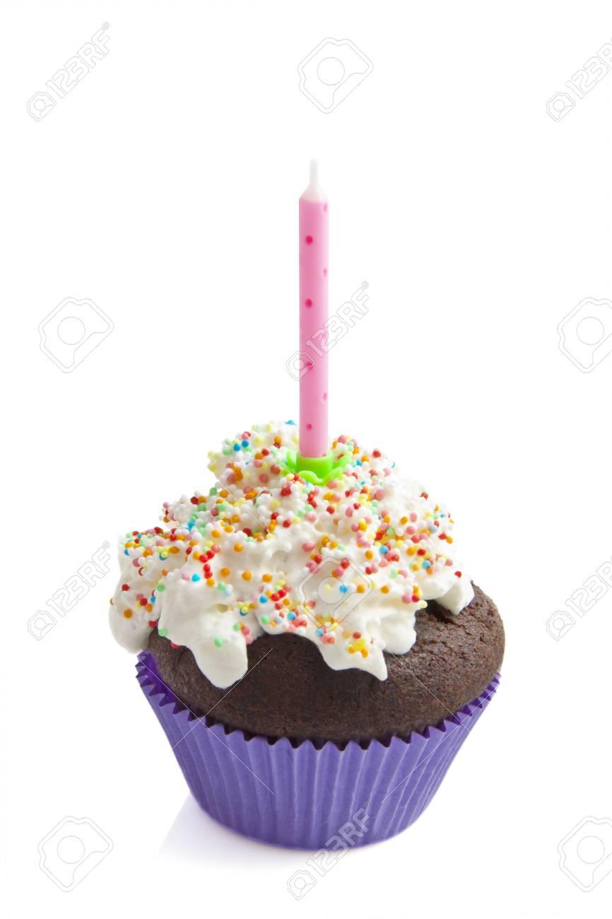 Frisch Geburtstag Cupcake Hintrgrund Isoliert Weiss Dekoriert