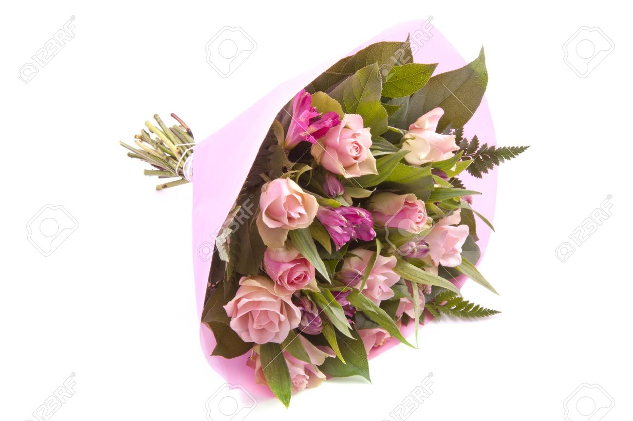 Bouquet With Different Kind Of Flowers Wrapped In Pink Paper Stock ...