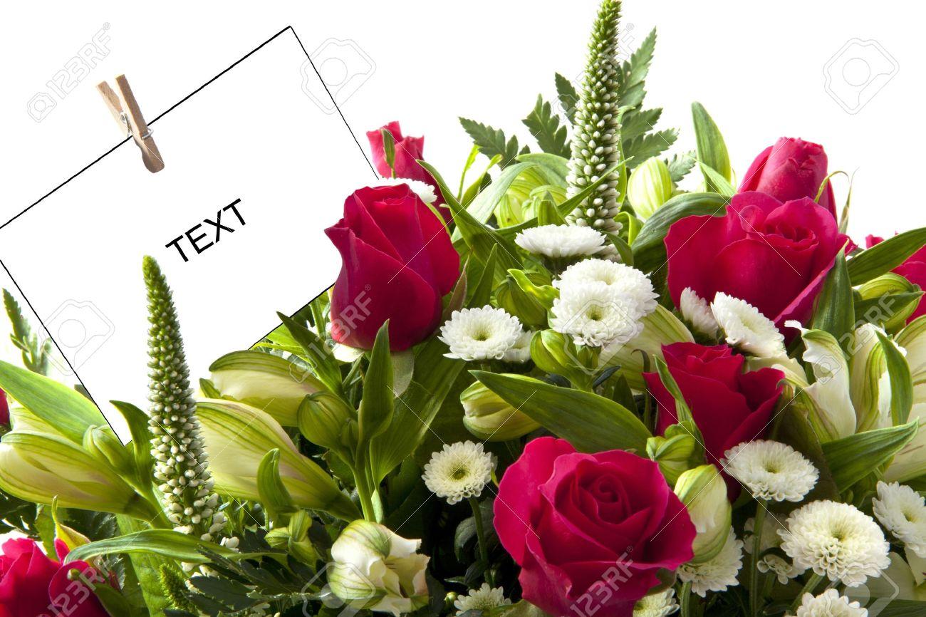 Beautiful Bouquet Mit Rosa Rosen Und Karten Für Den Hintergrund ...
