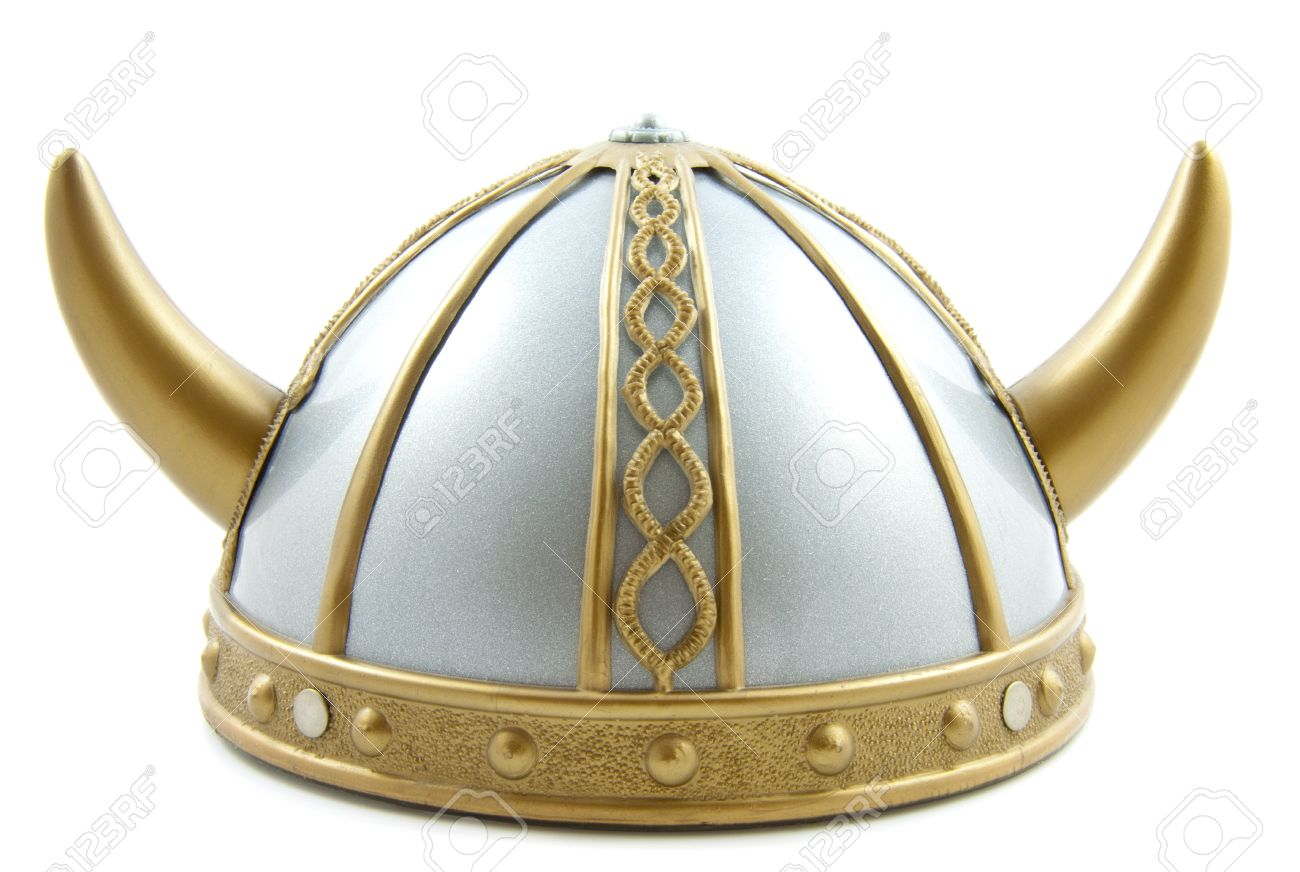 Decorated old viking helmet on a white background Stock Photo - 11194592