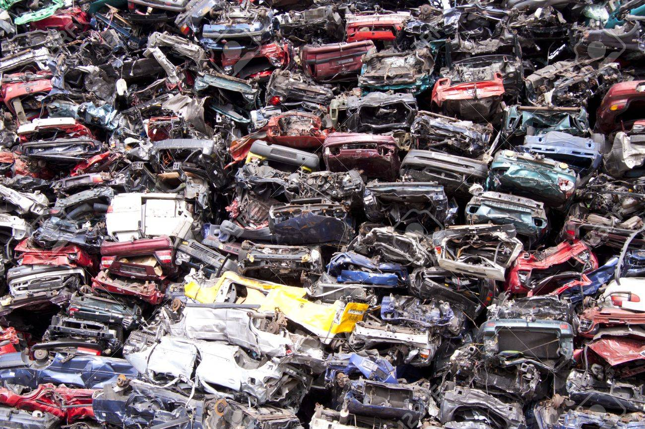 Lots Of Old Cars On A Pile Of Scrap Stock Photo, Picture And Royalty ...