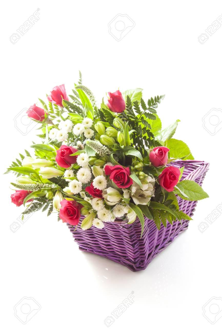 Bouquet beautiful flowers in purple basket isolated over white stock bouquet beautiful flowers in purple basket isolated over white stock photo 18344366 izmirmasajfo