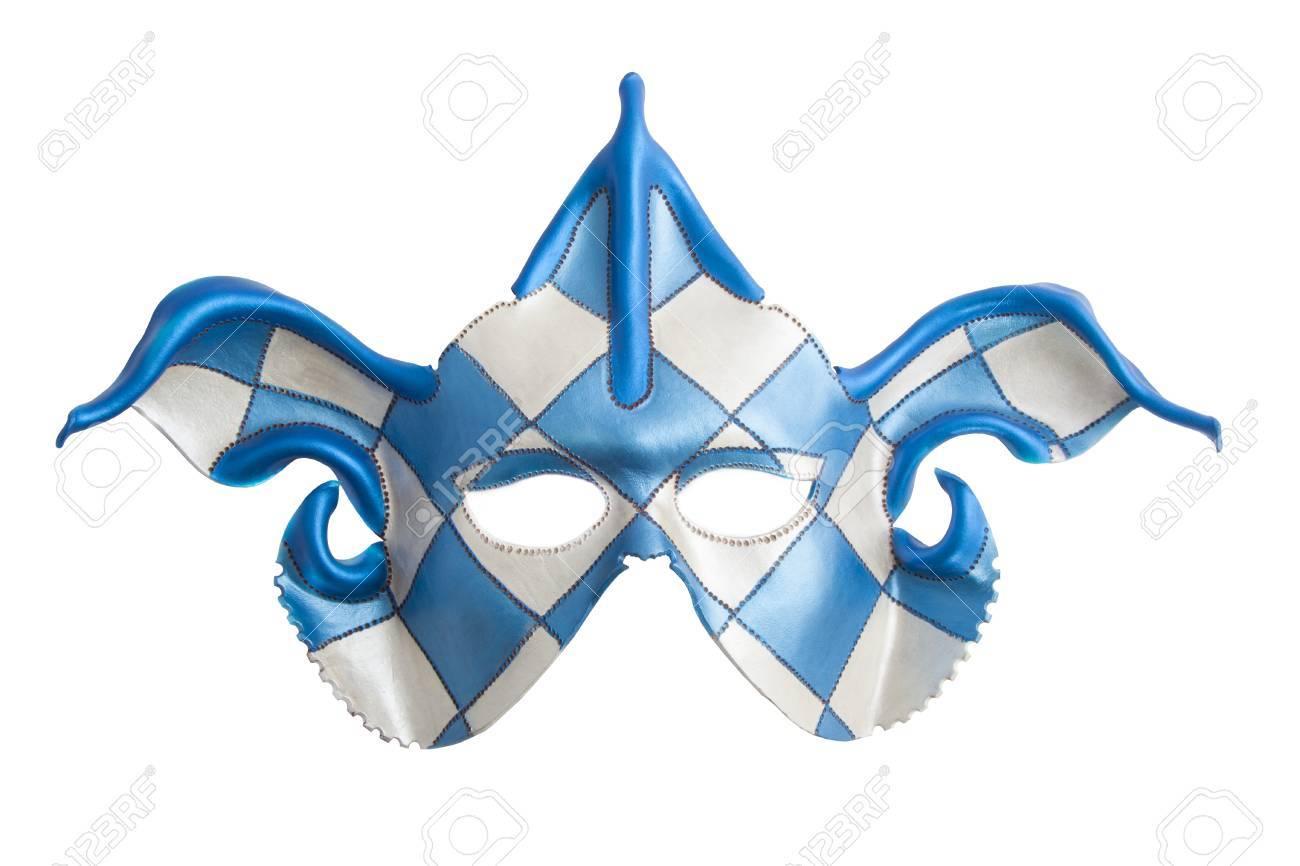 Bleu Blanc Masque Arlequin Isolé Sur Blanc Banque Dimages Et Photos