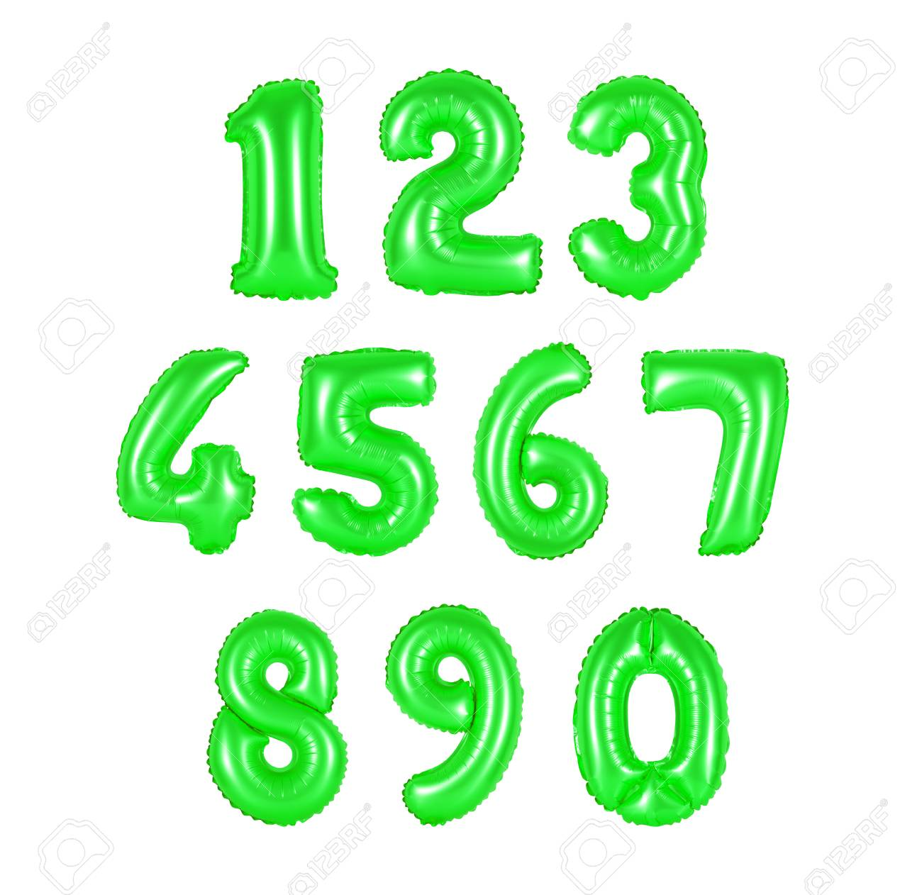 Numbers Of Green Color, Balloons On A White Background. Discounts ...