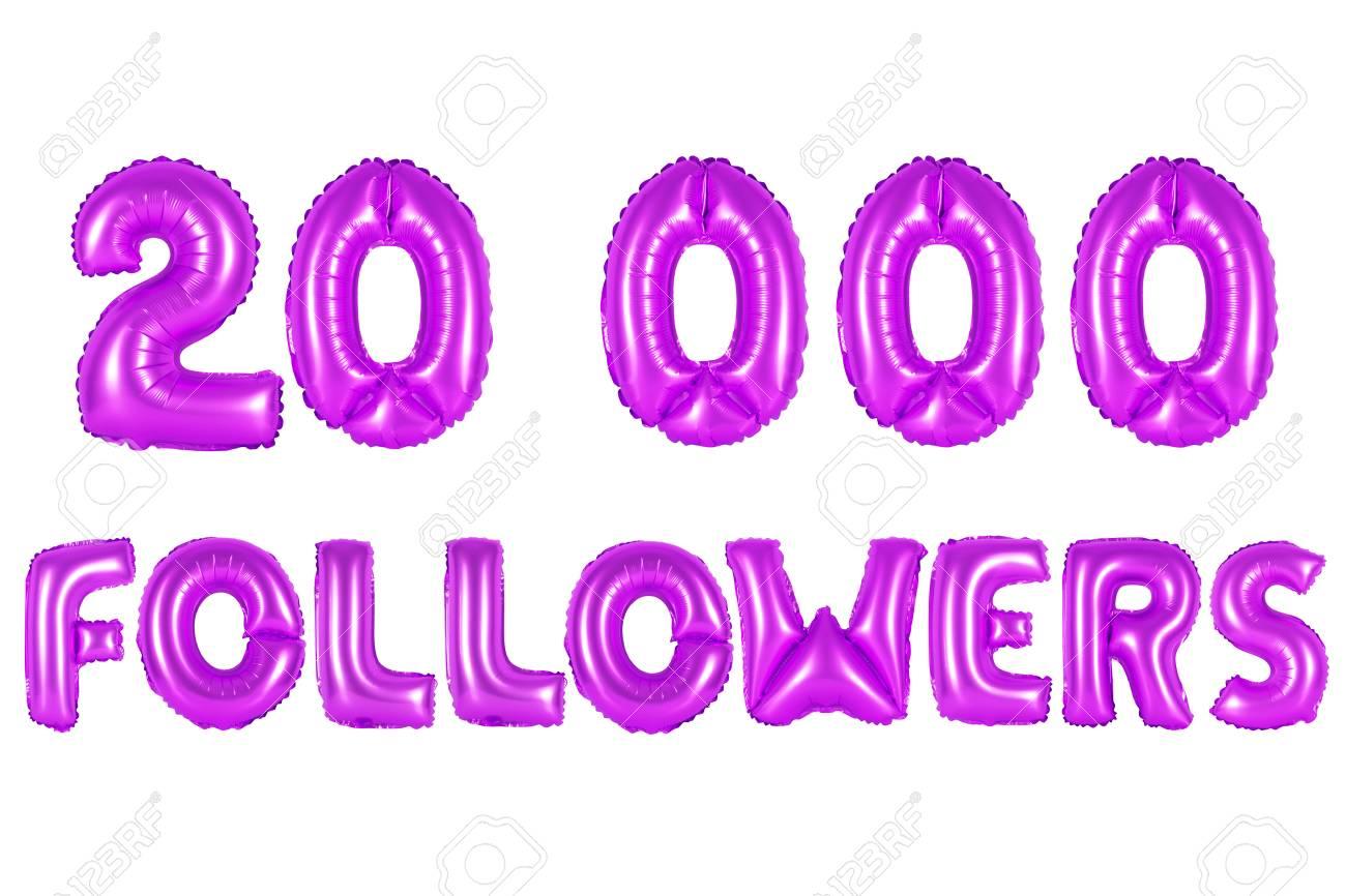 purple alphabet balloons, 20K (twenty thousand) followers, purple number and letter balloon