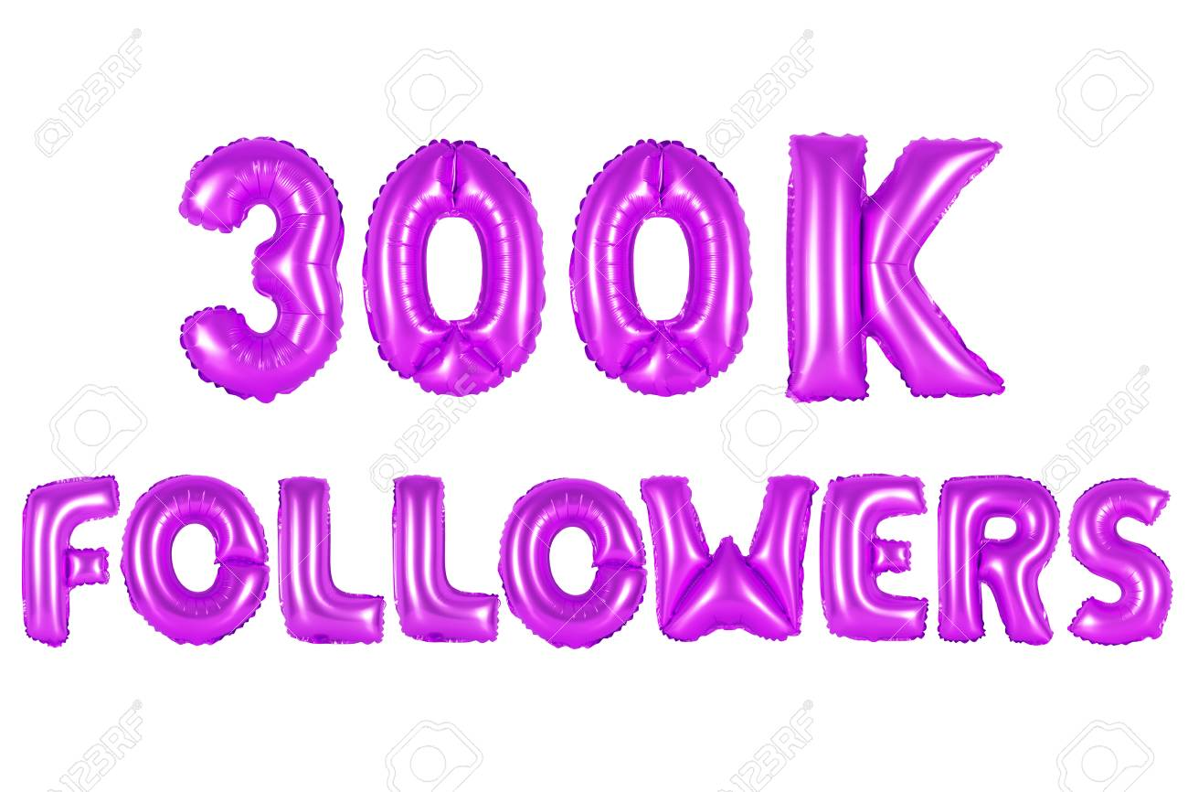 purple alphabet balloons, 300K (three hundred thousand) followers, purple  number and letter