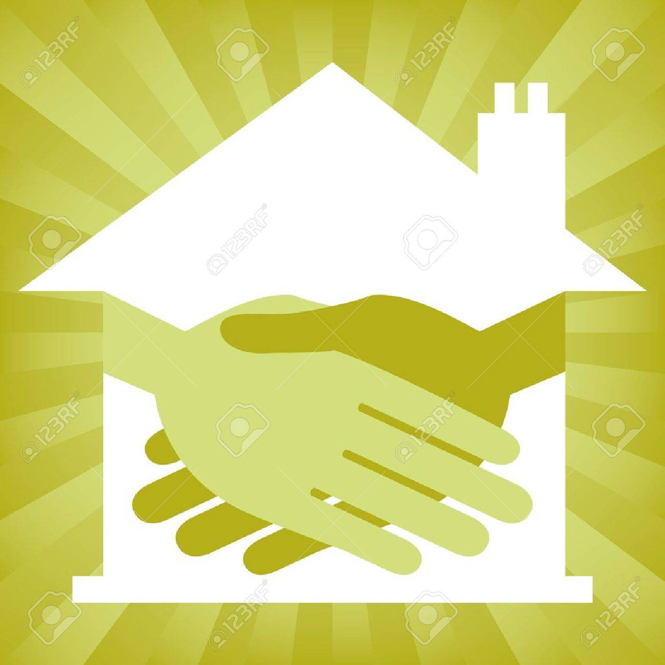 Green property or real estate handshake design. Stock Vector - 9683483