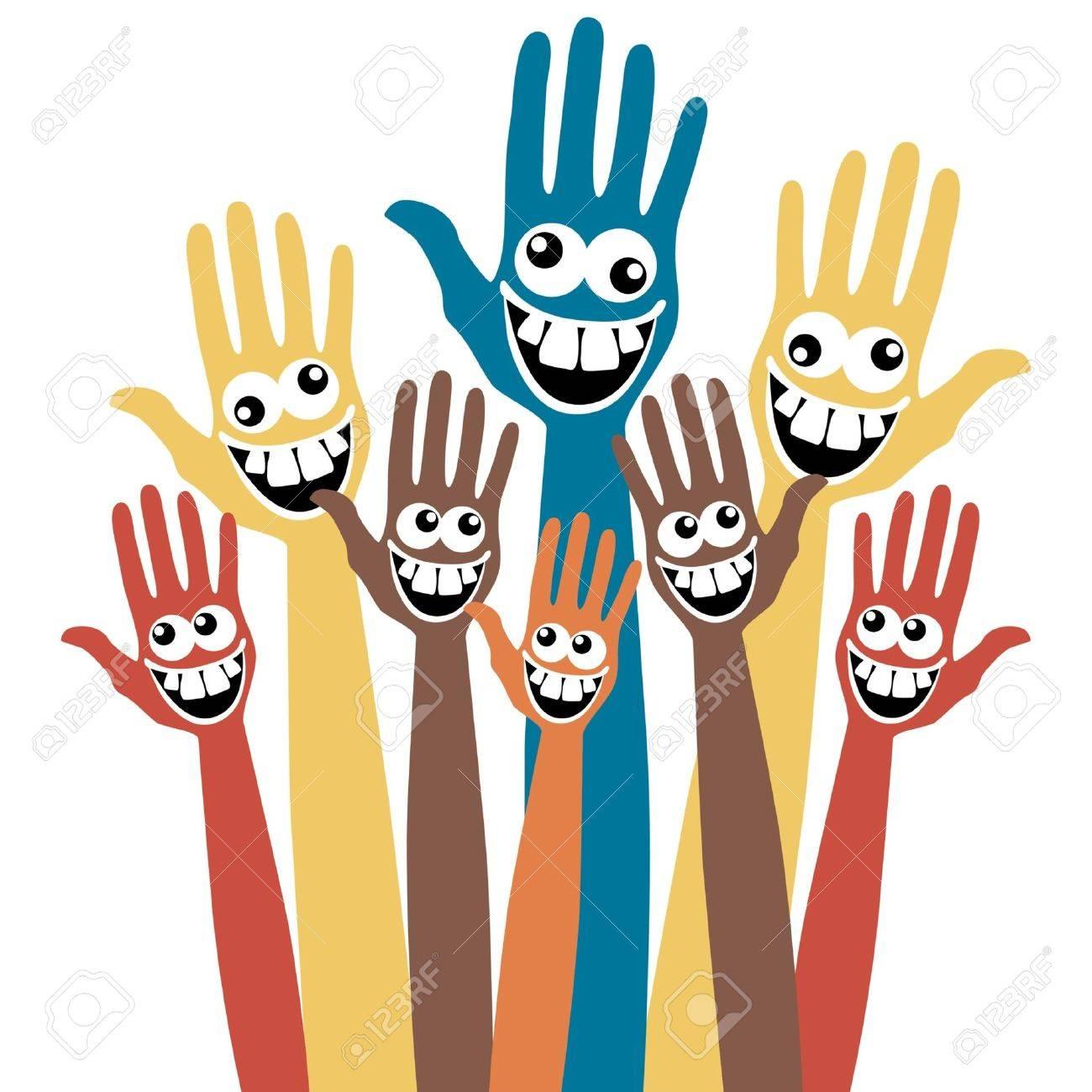Crazy face hands. - 10043859
