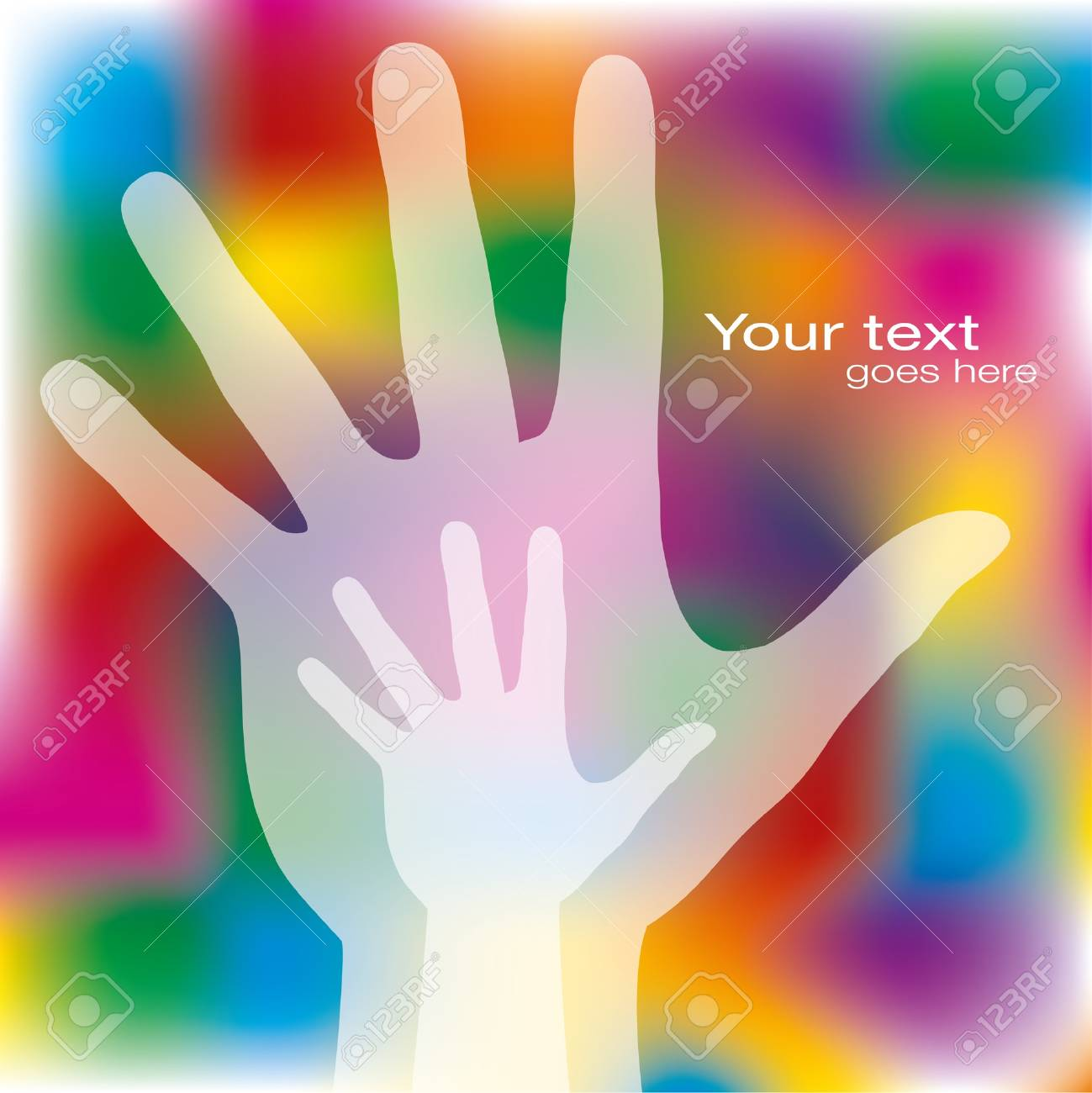 Reaching hands design with copy space. Stock Vector - 10355455