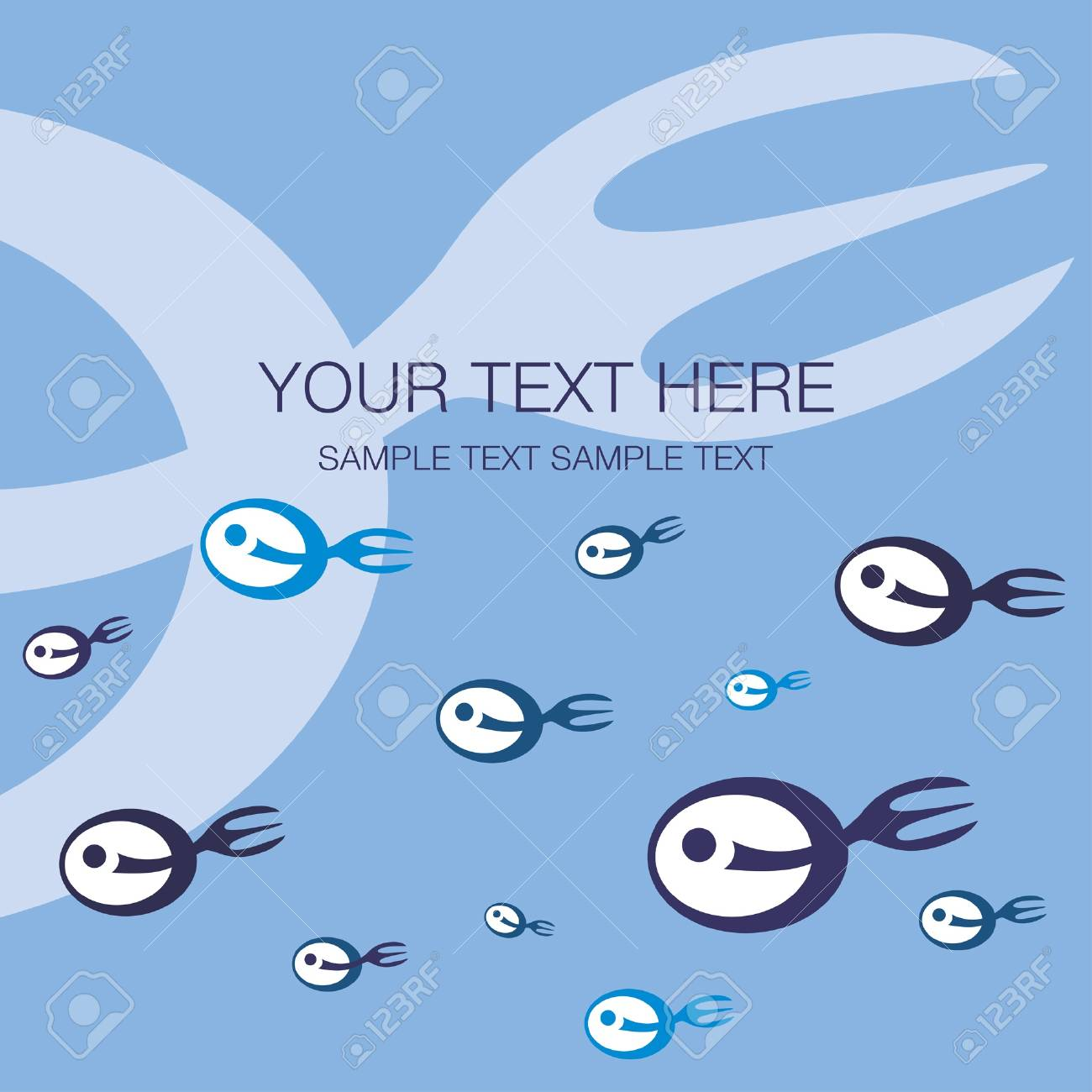 Fork tailed fish design with text space vector. Stock Vector - 10429750