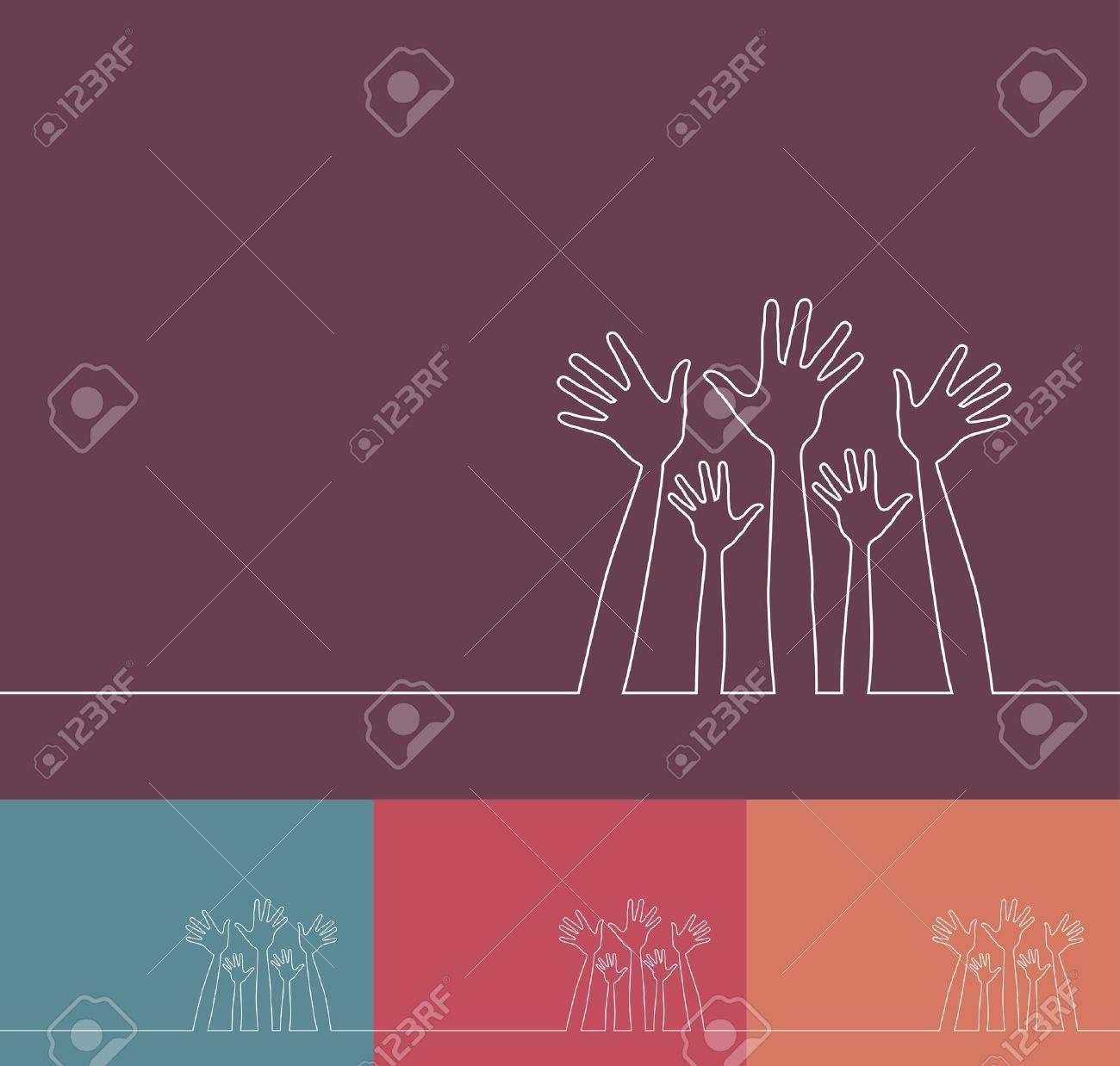 Simple line illustration of hands vector design. Stock Vector - 10481804