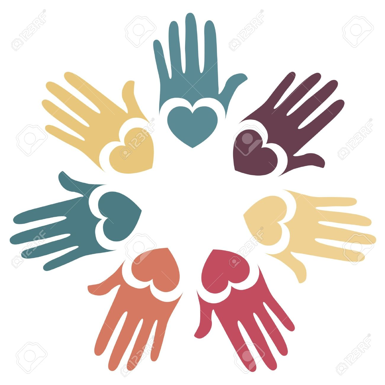 Colorful hands and hearts vector design. Stock Vector - 10513732