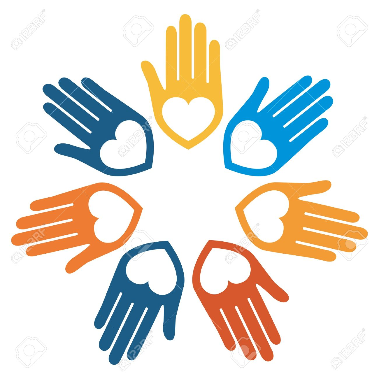 united hands and hearts vector design royalty free cliparts rh 123rf com Vector Cartoon Hands Cupped Hands Vector