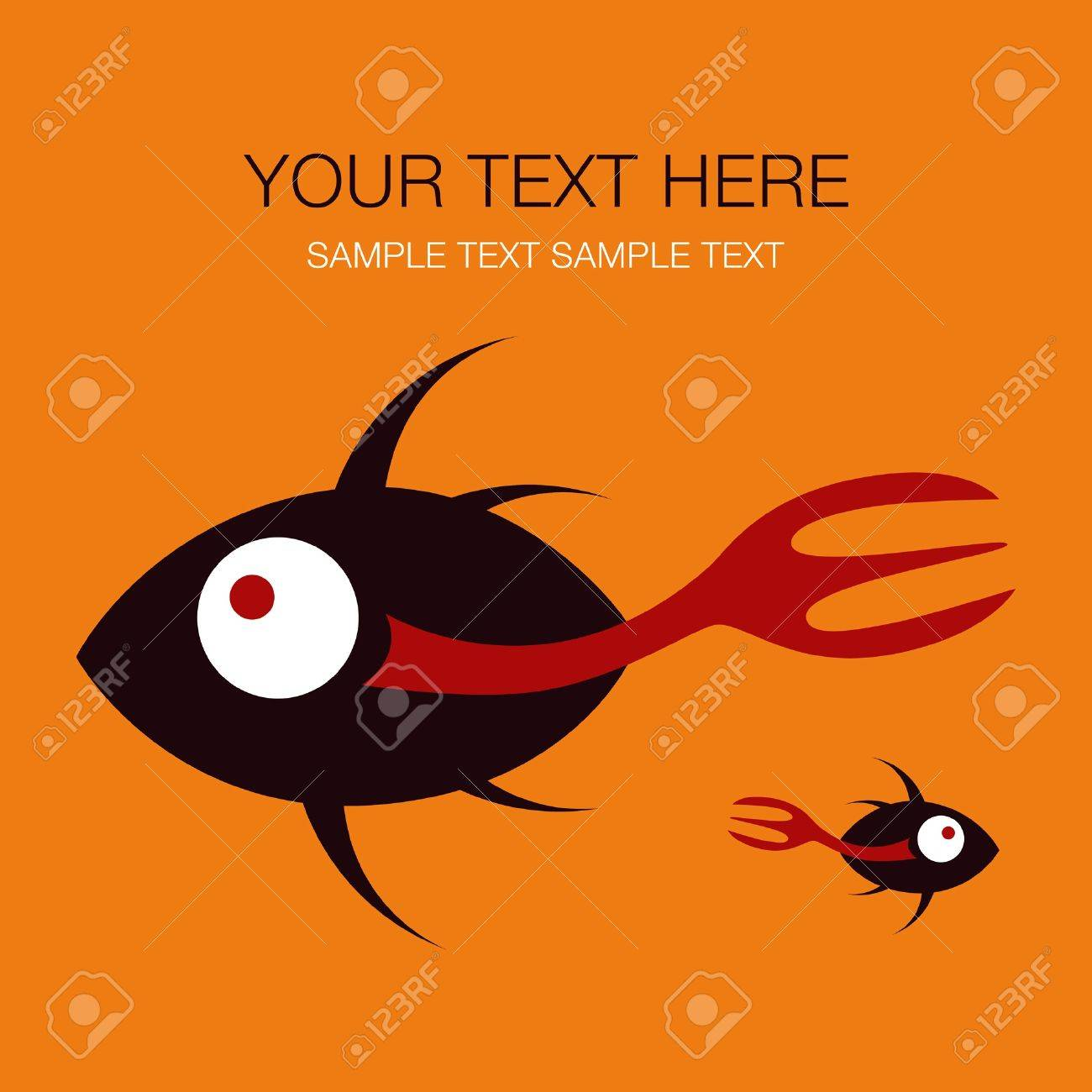 Fork tailed fish design with copy space . Stock Vector - 10799350