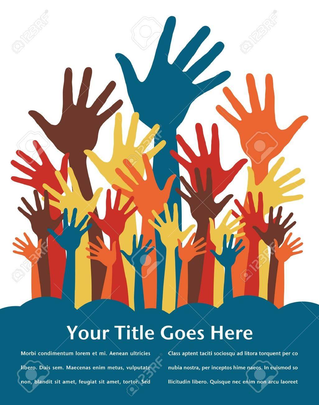 Poster design volunteer - Volunteering Joyful Hands Design With Copy Space Illustration