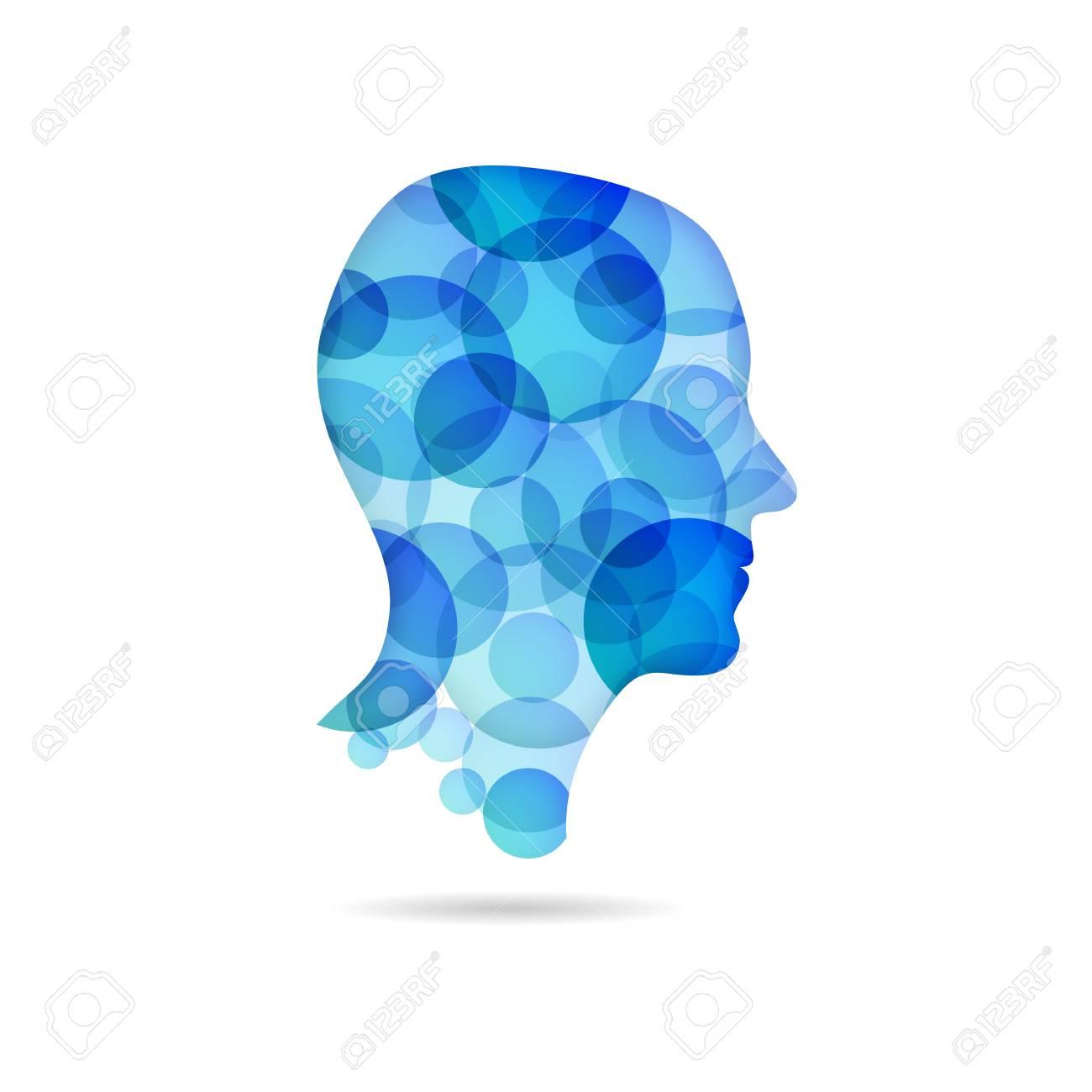 bubble head poster - blue Stock Vector - 21085205