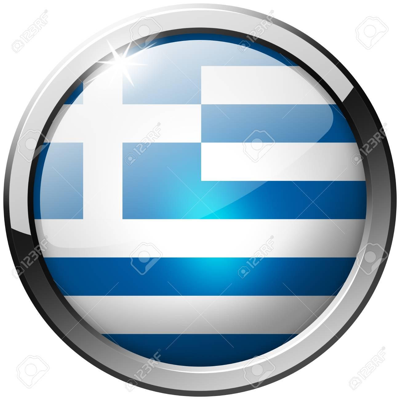 Greece Round Metal Glass Button Stock Photo - 21200756