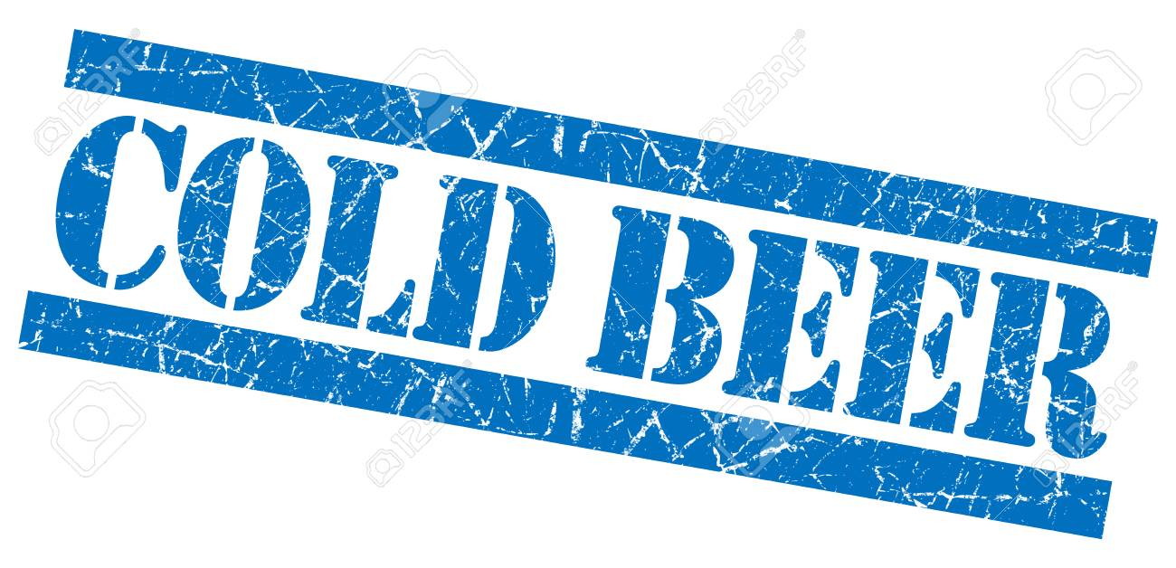 Cold beer grunge blue stamp Stock Photo - 23569876