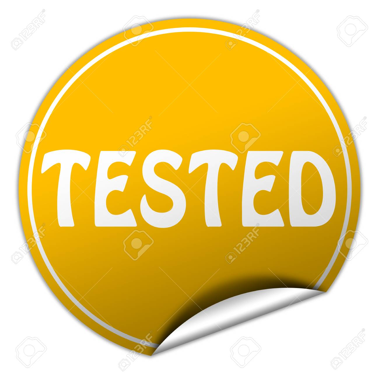 tested round yellow sticker on white background Stock Photo - 25159373