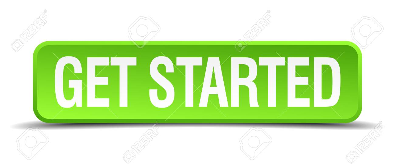 get started green 3d realistic square isolated button - 30363804