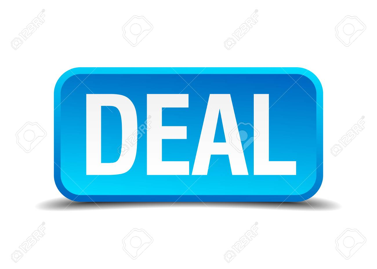 deal blue 3d realistic square isolated button Stock Vector - 30642375