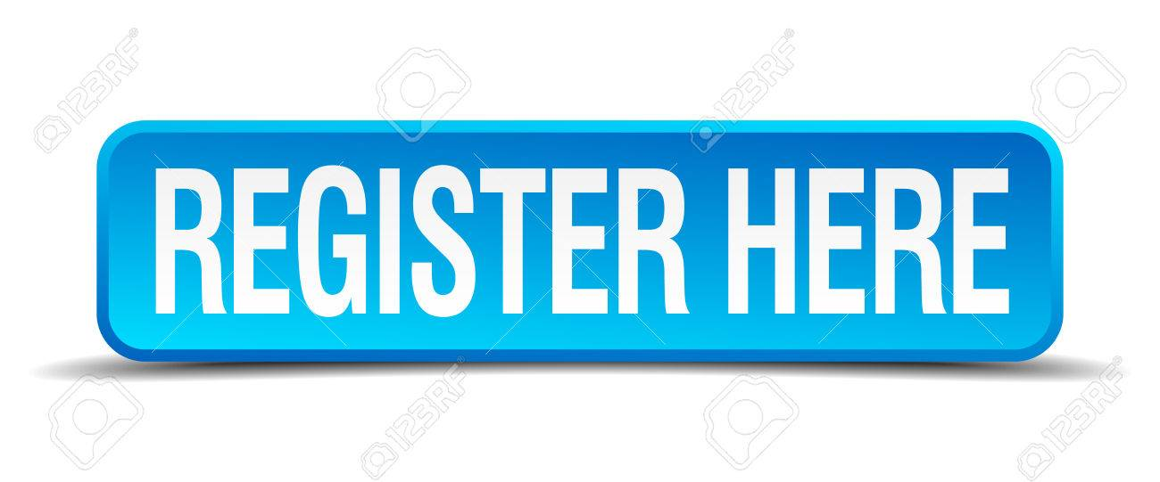 register here blue 3d realistic square isolated button - 30709819