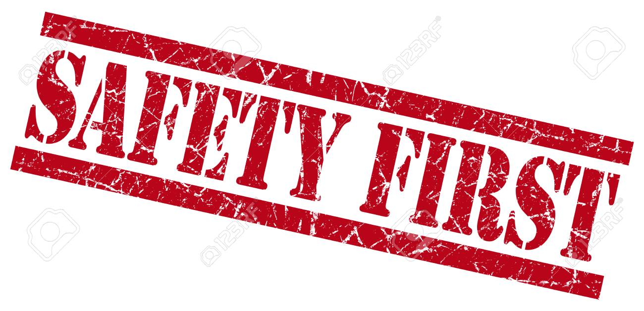 a98774ba0b098 safety first red square grunge textured isolated stamp Stock Photo -  32228369