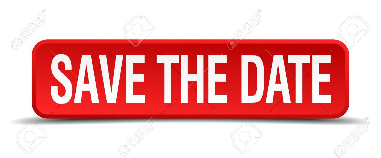 save the date red 3d square button isolated on white - 32626577