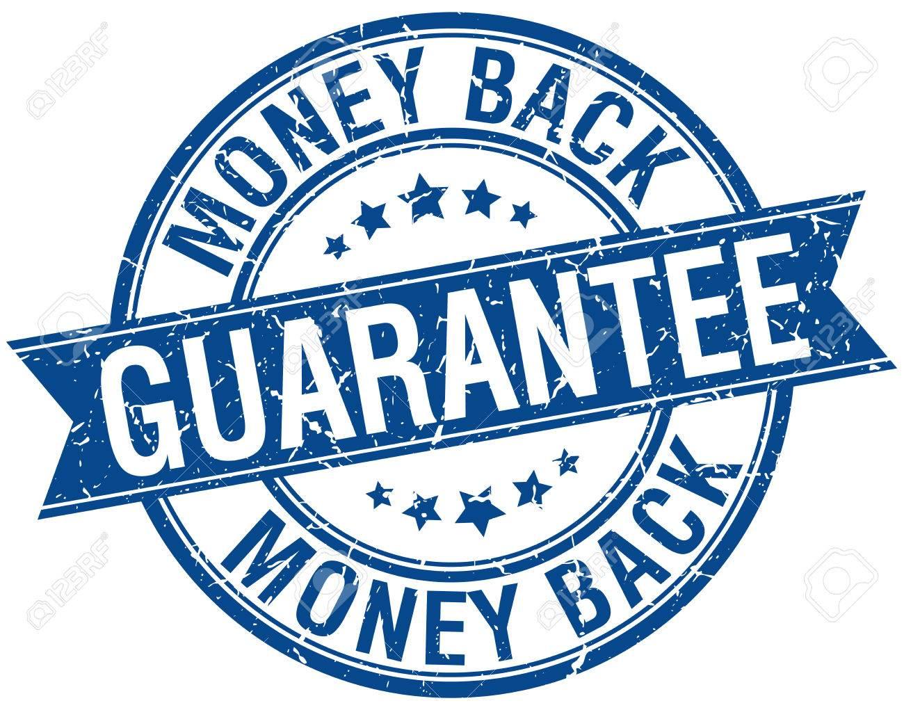 money back guarantee grunge retro blue isolated ribbon stamp - 39178745