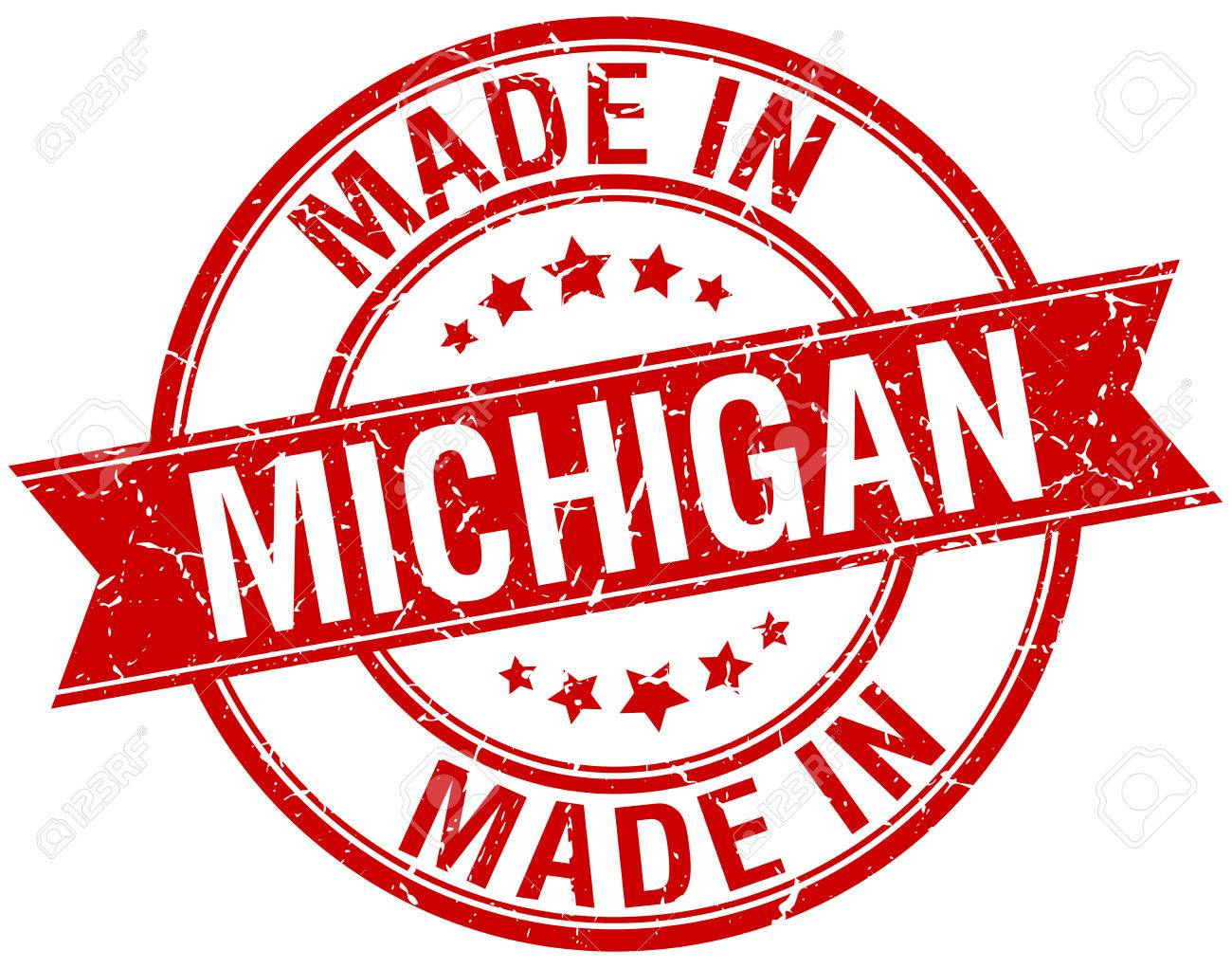 Made In Michigan >> Made In Michigan Red Round Vintage Stamp