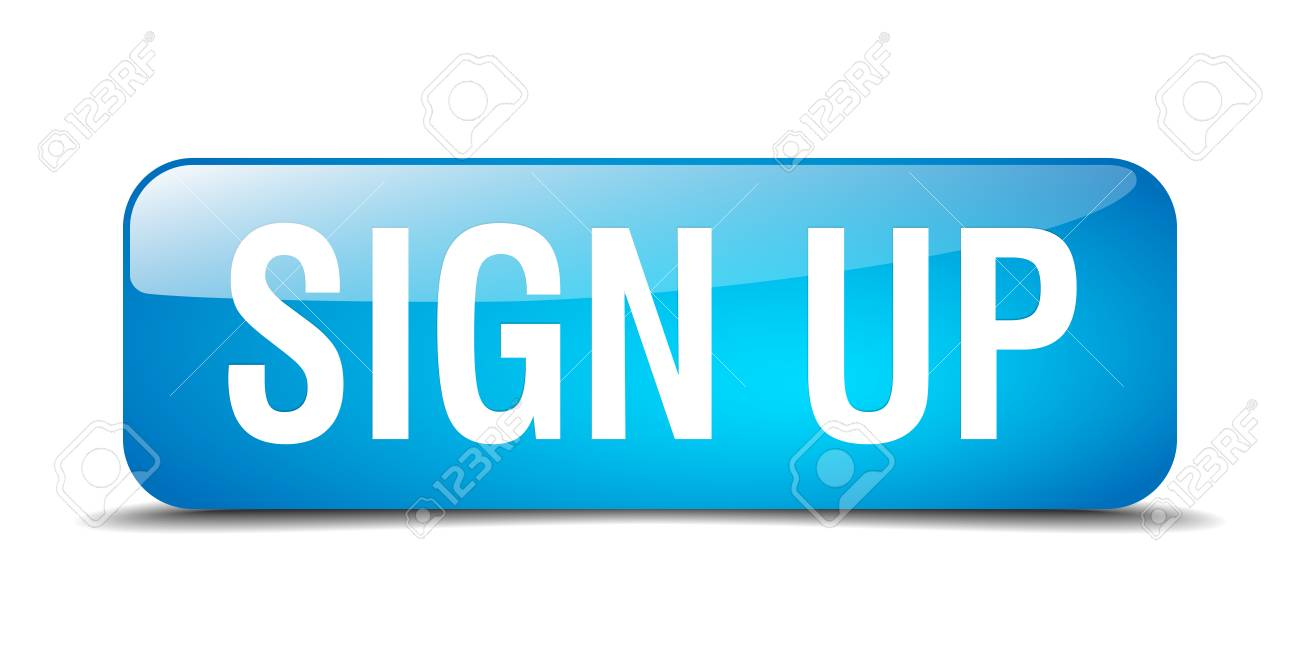 sign up blue square 3d realistic isolated web button - 41790829