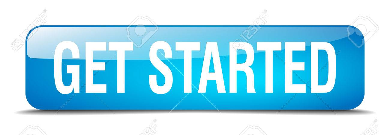 get started blue square 3d realistic isolated web button - 41819258