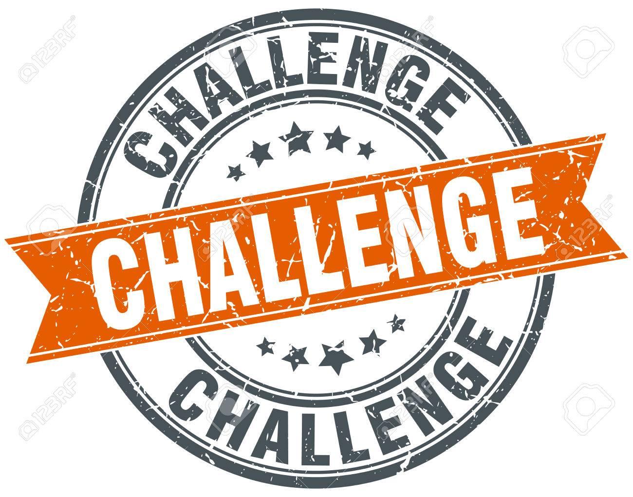 challenge round orange grungy vintage isolated stamp - 42252019