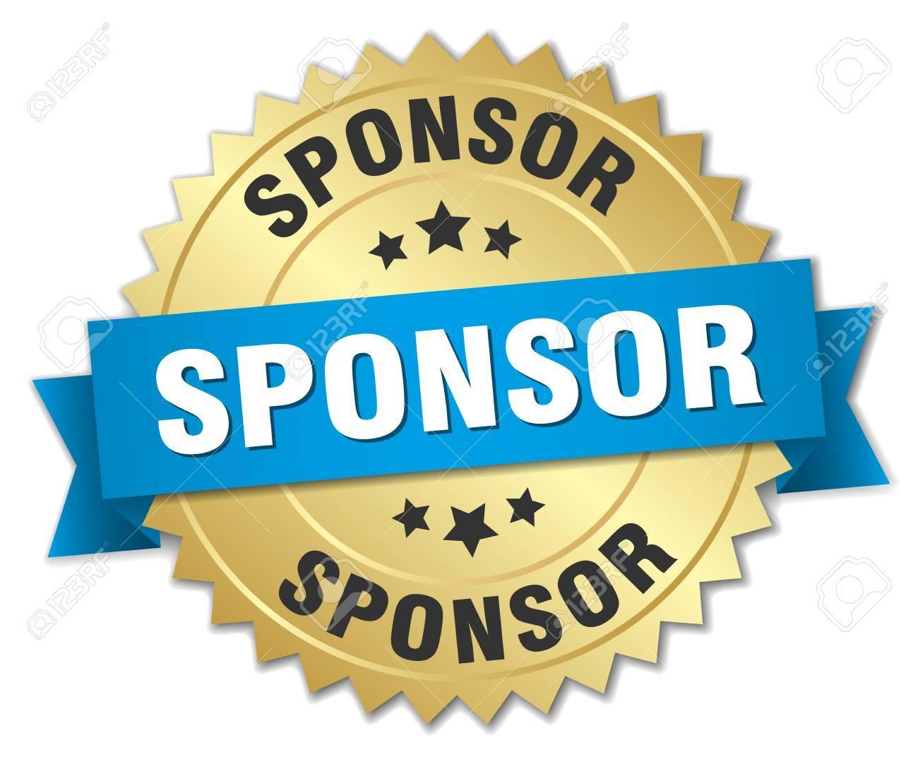 sponsor 3d gold badge with blue ribbon - 44345222