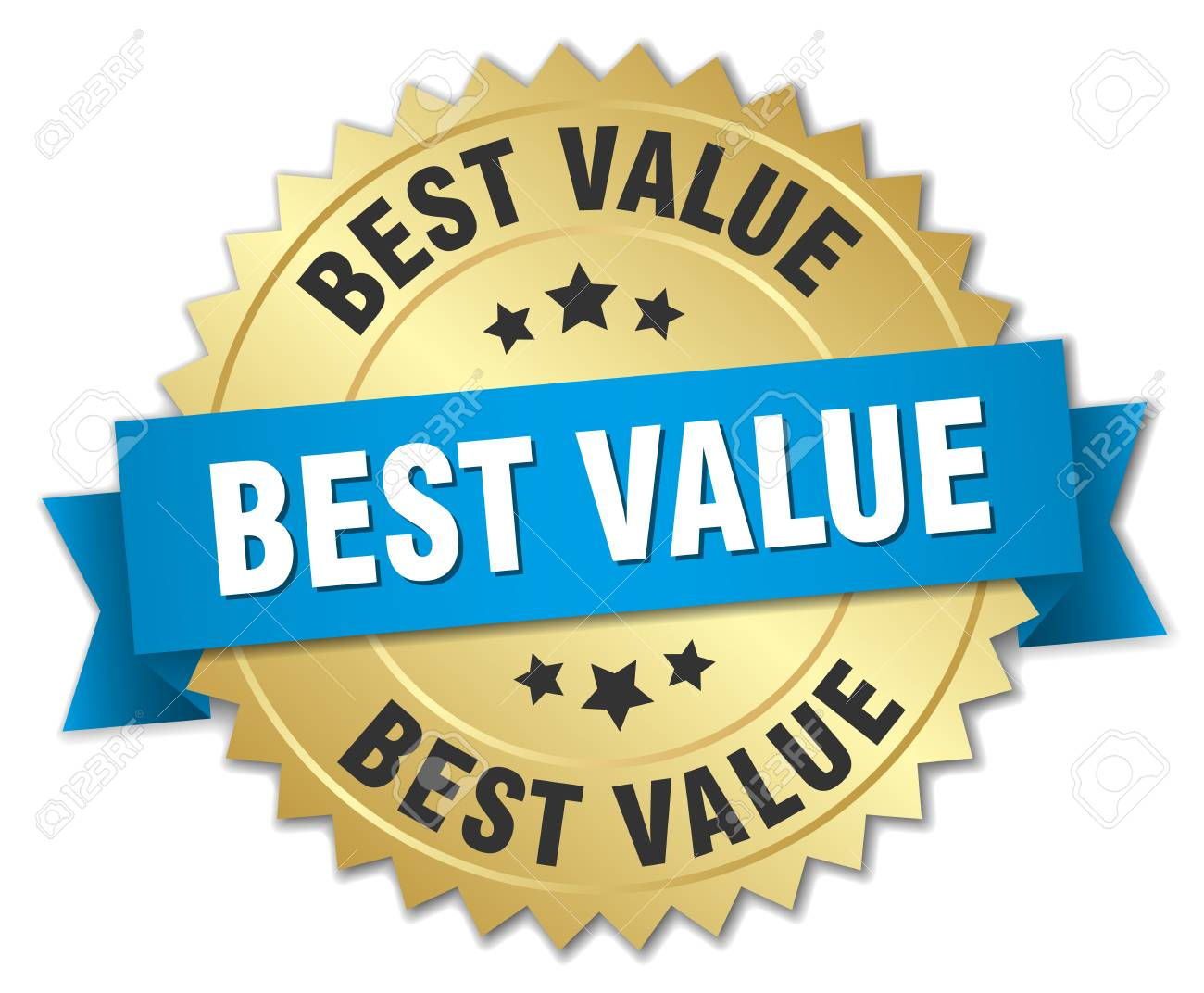 best value 3d gold badge with blue ribbon - 44493553