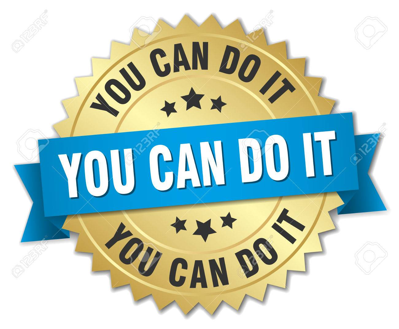 You Can Do It 3d Gold Badge With Blue Ribbon Royalty Free Cliparts ...