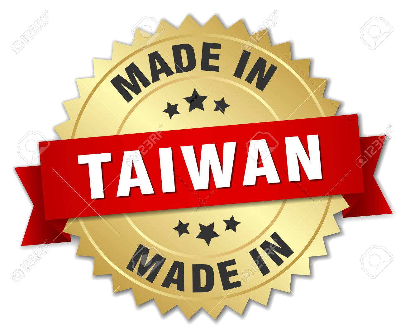 made in Taiwan gold badge with red ribbon - 45447659