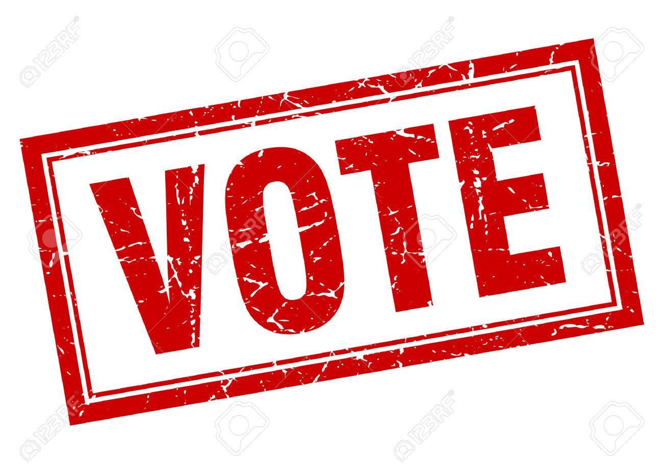 vote red square grunge stamp on white - 45593469