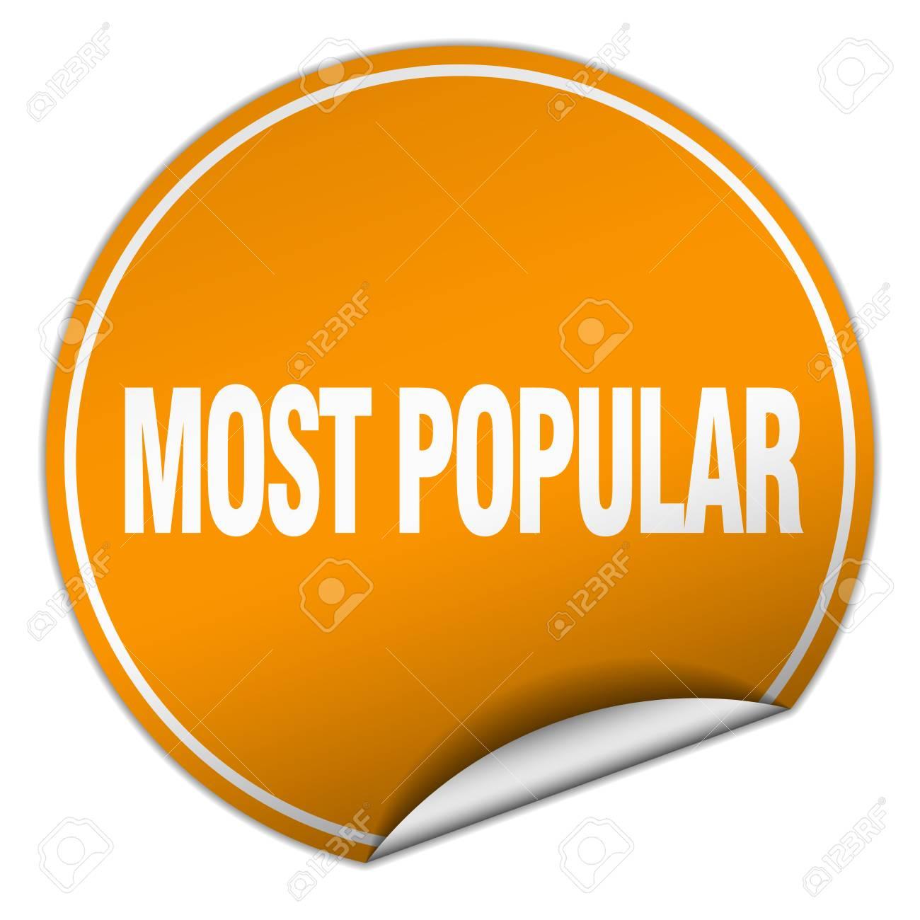 Archivio Fotografico - I più popolari adesivo arancione rotondo isolato su  bianco a09f7174370