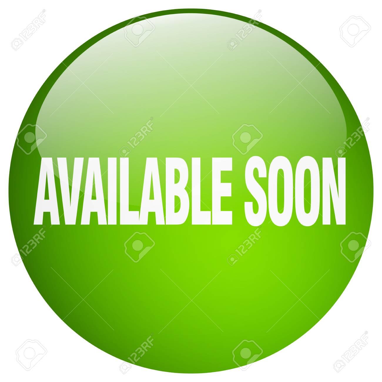 26129c4560a637 Binnenkort beschikbaar groene ronde geïsoleerd gel drukknop Stockfoto -  49082962