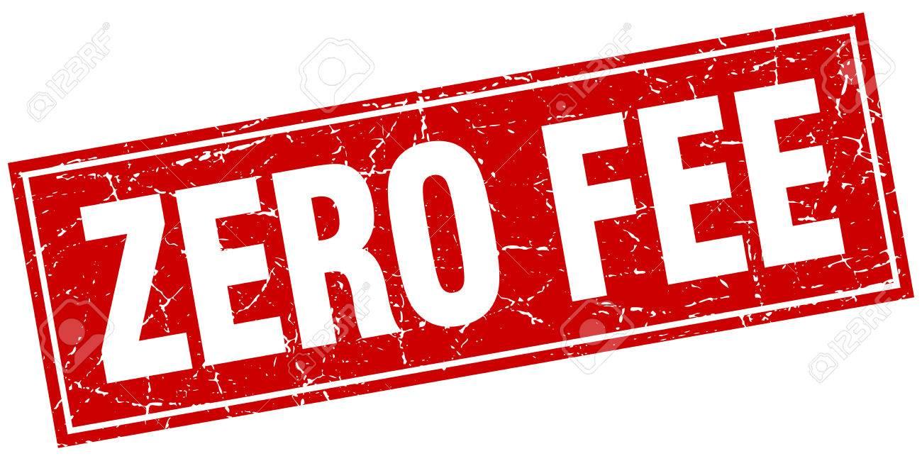 zero fee red square grunge stamp on white - 50120478
