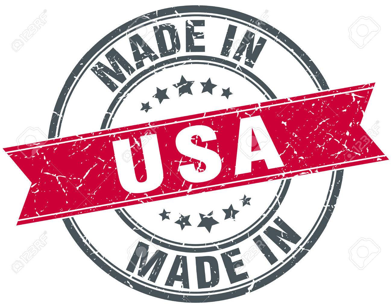 made in usa red round vintage stamp - 52495679